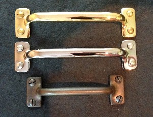 Window Sash Bar Lift Handles in Brass & Polished Nickel